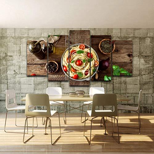OLKGE 5 Panel Leinwandbilder Küche Pasta Olivenöl Knoblauch Gemälde Modern Wandbild Kunstdruck Wohnzimmer Wanddeko-Größe D