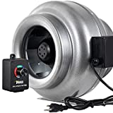 iPower GLFANXINLCTR12 12 Inch 1060 CFM Duct Inline HVAC Exhaust Blower Ventilation Fan with Variable Speed Controller, 12', Grey