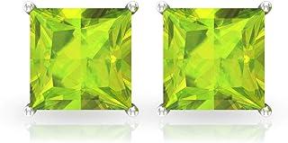 3.3 Ct Princess Cut Peridot Stud Earring, SGL Certified Gemstone Statement Earring, Solitaire Vintage Gold Earring, Women ...