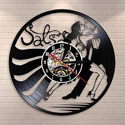 Reloj de Pared de Baile de Salsa Latina Vintage, Reloj de Pared de Vinilo con Silueta de Pareja de Baile, Reloj de Pared de Estudio de Baile Latino, lámpara de Pared