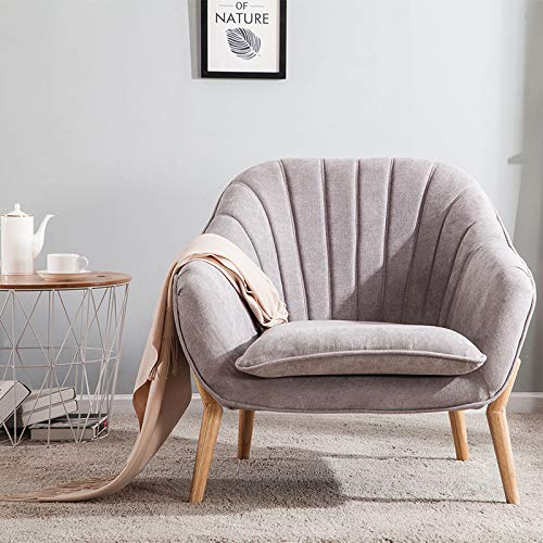 Wamiehomy Modern Suede Fabric Armchair Tub Occasional Chair with Solid Wood Legs for Living Room Bedroom Reception Contemporary (Grey)