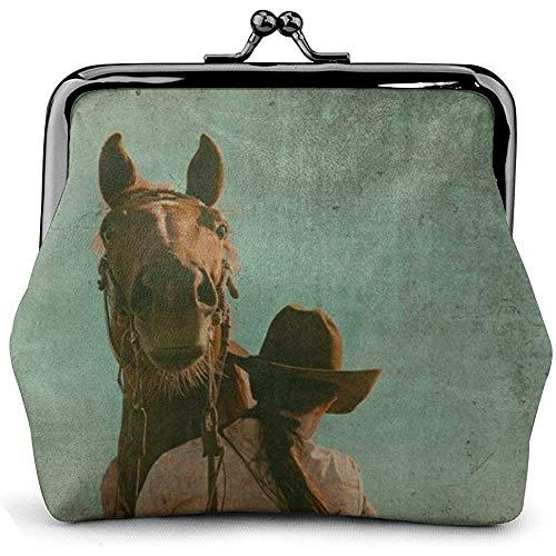 Purse Wallet,Bolsos De Embrague De Impresión De Cuero PU De Grunge Western Horse Microfibra Vintage para Viajes De Negocios De Fiesta,11.5(W) x10.5(L) x3(T) cm