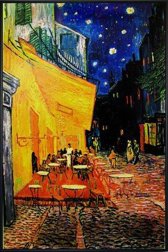 Close Up Terrasse de Cafe la nuit Poster Vincent Van Gogh (93x62 cm) gerahmt in: Rahmen schwarz