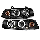 For BMW E36 3 Series 2 Doors Coupe Black Bezel Dual Halo Ring Projector Headlights Lamps Left + Right