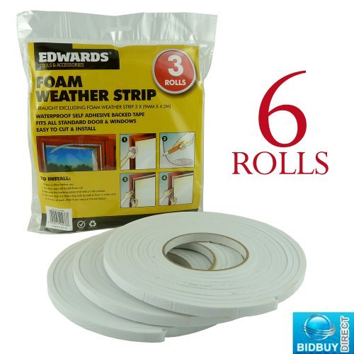 ROLLS DRAUGHT FOAM EXCLUDER WEATHER STRIP - WATERPROOF - SELF ADHESIVE - IDEALS FOR DOORS AND WINDOWS - BRAND NEW by Bid Buy Direct