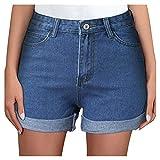 YANFANG Pantalones Cortos De Mezclilla Casuales Medio para Mujer,Pantalones Deshilachados Mujer Rasgados con Bolsillos,Pantalon Harem Cintura Alta Patrones Yoga Pants Verano Playa,2-Azul,L