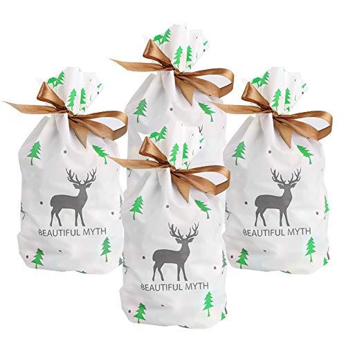 Bolsas navideñas con cordón,50 piezas Bolsas navideñas para regalo Bolsas para golosinas Bolsas para envolver regalos Elk plateado Árboles de Navidad verdes Bolsas regalos para fiestas de Navidad