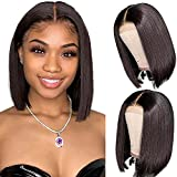 12A Bob Wigs Straight Short Bob Wig Lace Frontal Human Hair Wigs 4x1 T Part Lace Closure Brazilian Virgin Human Hair Straight Bob Lace Front Wigs with Baby Hair Pre Plucked 8 inch Natural Black Color