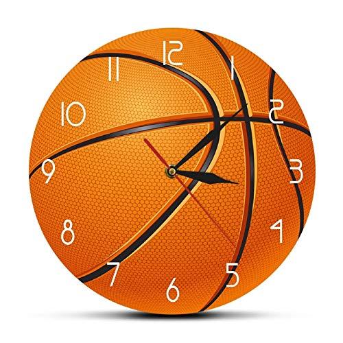 yage Bola de Baloncesto 3D Ilusión Reloj de Pared Impreso Moderno Reloj de Pared para habitación de niño Reloj de Pared de Movimiento silencioso Reloj de Baloncesto para niños Regalo