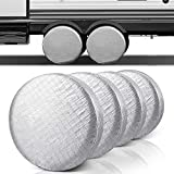Facon 4 Sets Tire Covers, Fits 27 inches to 29 inches Tire Diameters for RV Wheel Motorhome Wheel Covers Sun Protector Waterproof Aluminum Film, Cotton Lining
