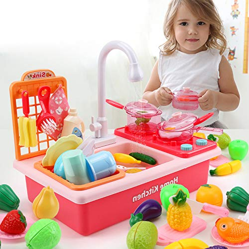 AMONE Kitchen Sink Toys,Kids Electric Dishwasher Playing Toy with Running Water, Cookware Pot and Pan,Play Food, Color Changing Dishes Accessories for Boys Girls Toddlers