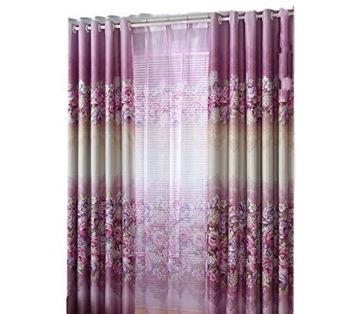 LR xiaorunfa Paars (gordijn) slaapkamer woonkamer volledige verduistering gordijn doek vloer tot plafond ramen pioen bloemen