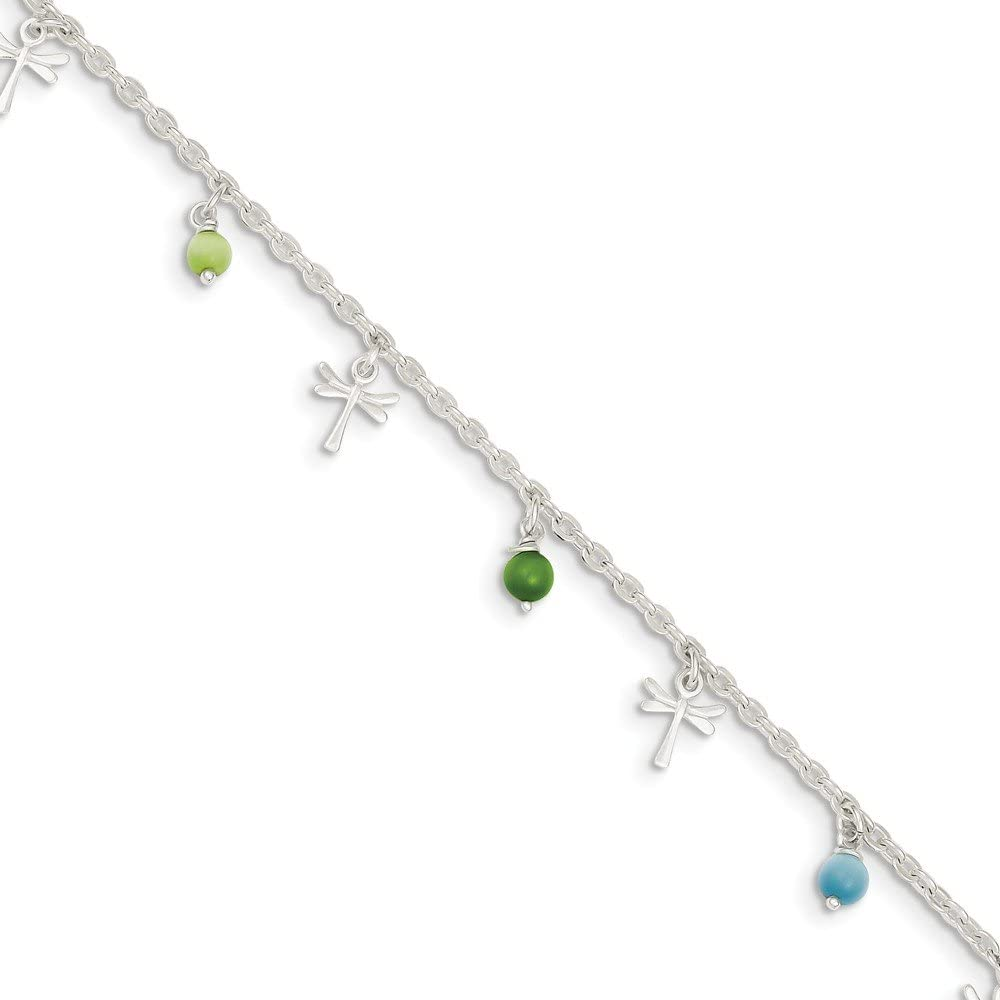 SS Pol Dragonflies w Aqua Beads 9w Anklet cheap 1ext 2021 spring and summer new Green