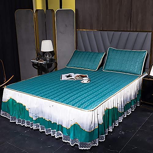 Inicio Equipamiento Colchoneta de verano Colchón de látex Falda de cama Colchoneta de 3 piezas Colchoneta de seda de hielo de verano Lavable a máquina Colchoneta suave con aire acondicionado D 150x