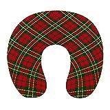 CIKYOWAY Almohada Viaje,Tartán irlandés Motivo a Cuadros Rayas geométricas de Colores navideños,Espuma de Memoria cojín de Cuello,Almohadas de Acampada,Soporte de Cuello para Viaje Coche