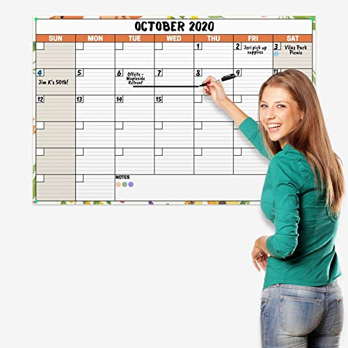 Dunwell 24x36 Erasable Undated Monthly Weekly Planner (Floral), Includes 2020 Horizontal Vertical Reversible Large Calendar, Laminated Dry Wet Erase Poster Calendars