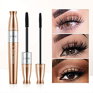 4D Silk Fiber Mascara,2-in-1 Mascara, Double Ended Volumizing and Lengthening Mascara ,Natural Growth and Thickening Effec...
