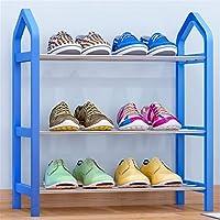 シューズラック 3層靴収納オーガナイザーユニットエントリーシューズシェルフ靴ラック金属靴タワー耐久性と安定した 大容量 (Color : Blue, Size : 42X20X45cm)