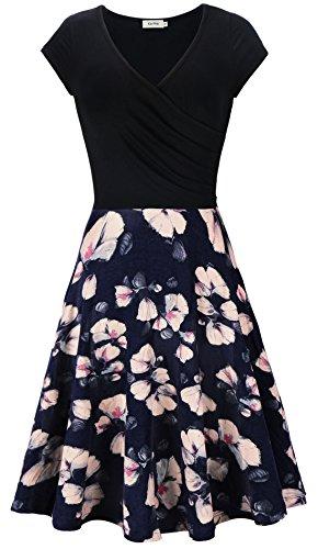Kormei -  Vestito - A Stelle - Collo a V - Maniche Corte - Donna Fiore Blu XL