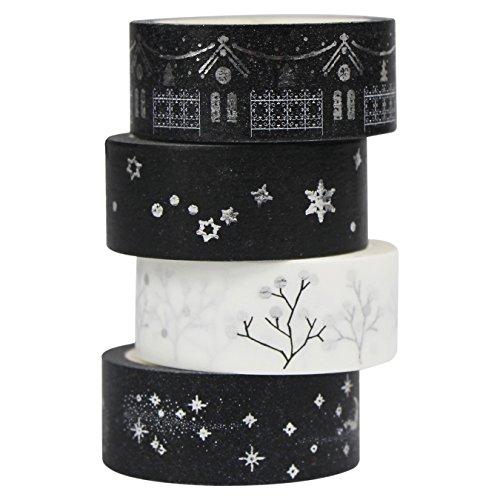 UOOOM 4er Set Silber Washi Tape Masking Tape deko klebeband Schwarz Weiß Klebebänder DIY deko Scrapbooking Craft Geschenk Design 9058