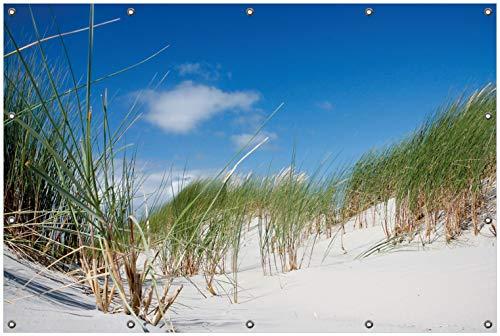 Wallario Garten-Poster Outdoor-Poster, Düne am Strand unter blauem Himmel in Premiumqualität, für den Außeneinsatz geeignet