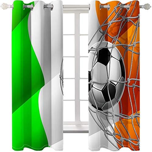 AMDXD 2 Paneles Cortinas Poliester Dormitorio, Cortinas para Salon Elegantes Fútbol en Red Comedor Decoración, Verde Naranja Negro Blanco, 274x160CM