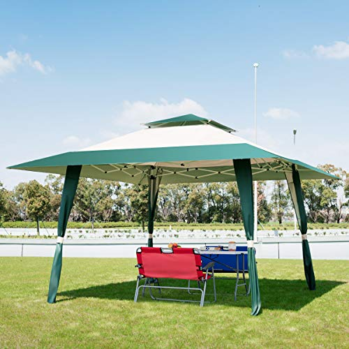 COSTWAY 4 x 4m Pop-Up Outdoor Gazebo, Waterproof Pavilion Canopy Tent with 2-Tier Roof, Carrying Bag, Large Marquee Shelter for Patio, Backyard, Garden, Event, Party (Green+Beige)