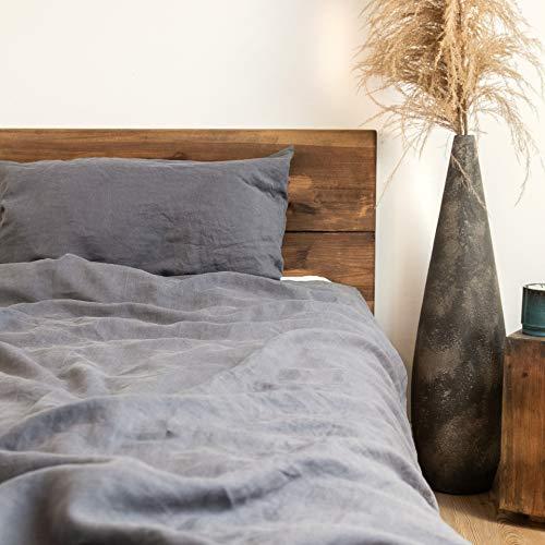 pure shores® Ropa de cama de lino 135 x 200 + 80 x 80 – 100% ropa de cama francesa – maravillosamente suave y cómoda – con cremallera (gris piedra)