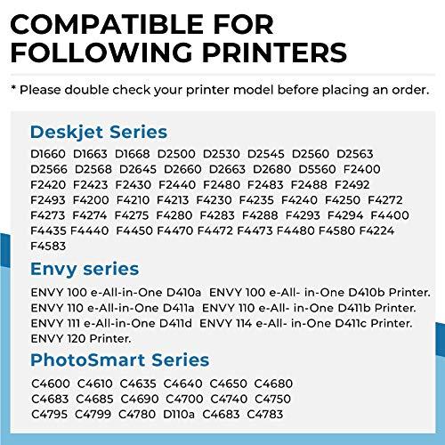 Penguin-Cartucho de Tinta Remanufacturado para HP 300XL 300 XL Compatible con PhotoSmart C4600 C4635 C4750 Deskjet D1660 D2500 F2420 F4400 F4583 Envy 100 110 120 D410a D411c (1 Negro, 1 Color)