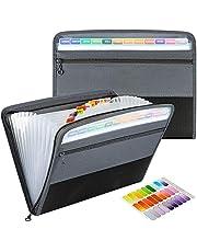 ファイルケース ベーシック ドキュメントスタンド ドキュメントファイル 書類ホルダー 収納ケース ファイルフォルダー A4 13分類 大容量 ハンドバッグ 仕切りフォルダー 拡張フォルダ ラベル付き 事務用品 学生紙袋 教室 オフィス (グレー)