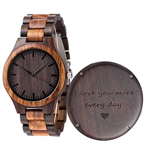 Fodiyaer Engraved Wood Watch for Boyfriend Men Husband Him As Personalized Anniversary Christmas...