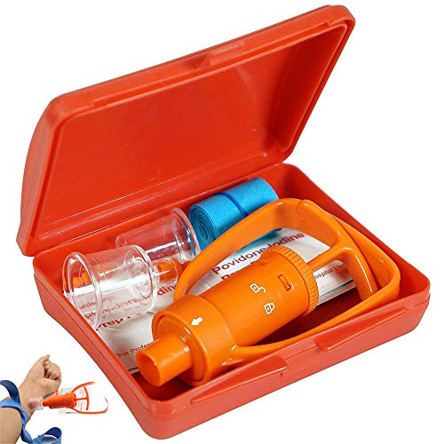 AMhuui Kit de Bomba extractora, Kit de Veneno mordedura de Serpiente Suministros de Primeros Auxilios de Emergencia, Bomba de succión de Veneno y aguijón para Excursionismo, Excursionismo Exploración