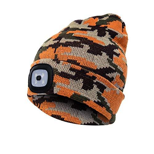 LZQpearl LED Leichte Mütze, Unisex Beanie, Winterwärmer Strickmütze, Eingebaute Batterie Für Die Jagd Auf Camping Grillen Laufen (Camouflage Orange)