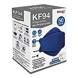 Best Trading 50 Cubrebocas KF94 Ligero y Certificado, Tapabocas con 4 Capas de Protección contra Partículas, Ajustador Nasal Oculto, Tecnología Coreana (Azul Marino)