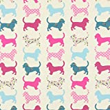 Fabulous Fabrics Baumwollstoff Hund 1 pink — Meterware ab