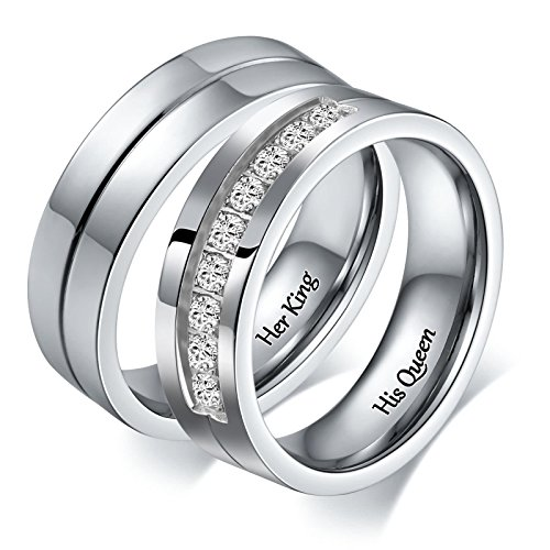 Aeici Her King His Queen Couple Romantic Jewelry Ring Stainless Steel Valentine's Day Size 7 & 12