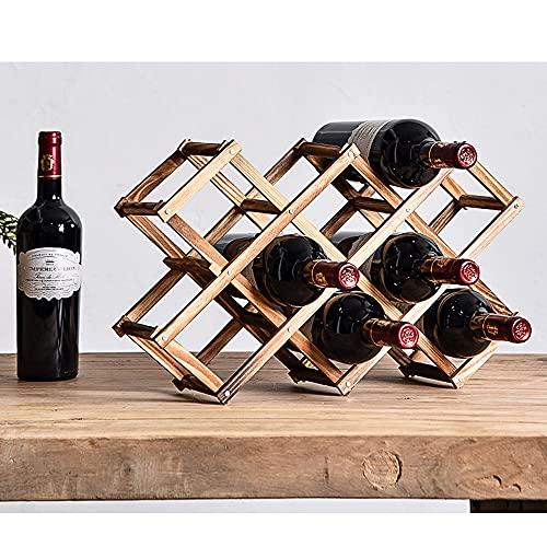 Kamenda Botellero plegable de madera, estantería para vino, organizador, 10 soportes para...