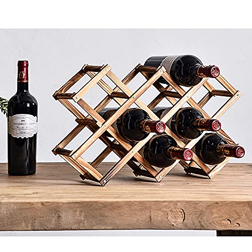 Kamenda Scaffale per Bottiglie di Vino e Birra, 10 Portabottiglie per Vino in Legno, Porta Bottiglie da Vino in Bambù