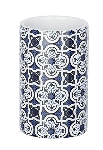 Wenko 23200100 Murcia tandenborstelhouder voor tandenborstel en tandpasta, keramiek, 6,5 x 11 x 6,5 cm, blauw