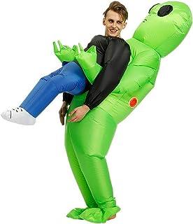 comprar comparacion Reuvv - Disfraz de alienígena verde que lleva a un humano, inflable, para cosplay, fiestas, Halloween, poliéster, Verde, L...