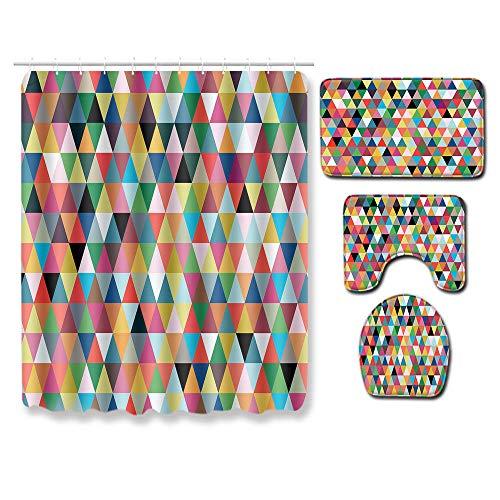 EZEZWSNBB 4-teiliges Duschvorhang-Set mit rutschfesten Teppichen, WC-Deckelbezug und Badematte, Farbgeometrie-Duschvorhang wasserdicht mit 12 Haken 180x180 cm Haus Dekoration