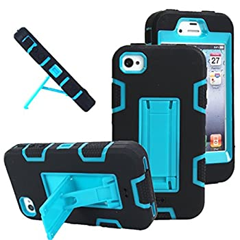 iPhone 4s case iPhone 4 case MagicSky Robot Series Hybrid Armored Case with Kickstand for Apple iPhone 4/4S - 1 Pack - Retail Packaging - Blue/Black