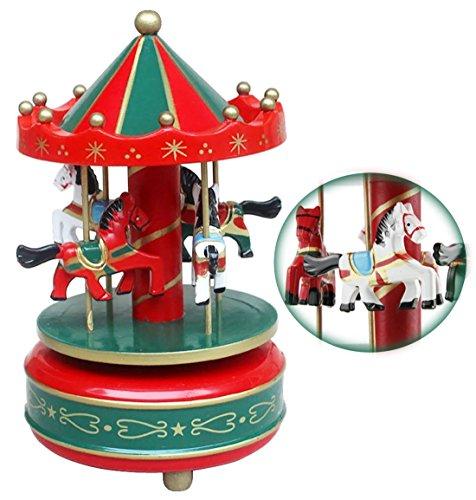 Jouet Premier Age Carrousel Boîte à Musique Carrousel Manège Joyeux en Bois Jouet Cadeau Noël pour Enfants Boîte à Musique Carrousel Boléro Sonate BGM Le Chateau Dans Le Ciel (Rouge)