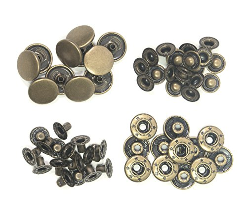 ALL in ONE Copper Press Studs Snap Fasteners Poppers Sewing Clothing Snaps Button (Antique Bronze 10MM)