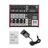 Muslady Muslady SL-6 Mezclador de Consola Mezcladora Portátil de 6 Canales Ecualizador de 2 bandas EQ de 48 V Incorporada Compatible con Conexión BT Reproductor de MP3 USB