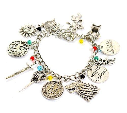 Beaux Bijoux - Braccialetto del Trono di Spade, con emblemi Stark, Lannister e Targaryen e Argento, colore: Style A, cod. GOT-CHARM-BRA-SIL A
