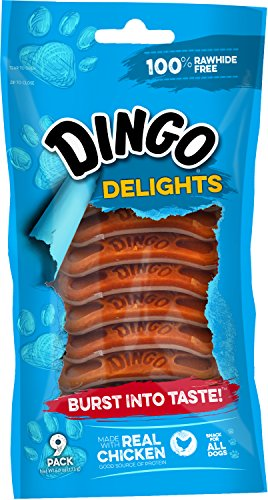 Dingo Delights, 100% Rawhide Free Treat, Chicken, 9-Count