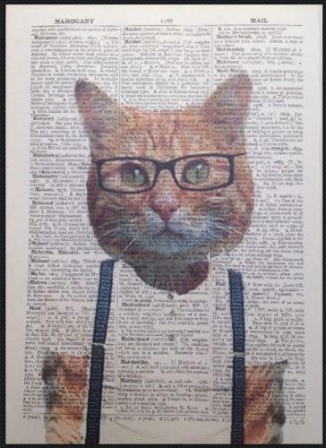 Parksmoonprints Page de dictionnaire vintage Motif chat roux
