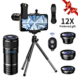 Cell Phone Camera Lens Kit - 12X Telephoto Lens + 180 Degree Fisheye