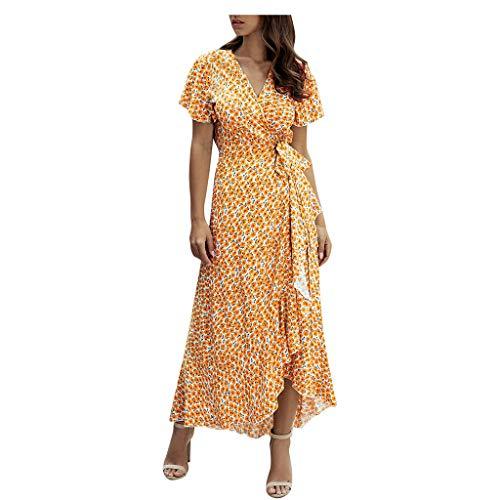 Luotuo Damen Sommerkleid Boho Maxikleid Kurzarm V-Ausschnitt Baumwolle Wickelkleid Mit Irregulär Rüschensaum Sexy Elegant Strand Kleider Freizeitkleid Cocktailkleid